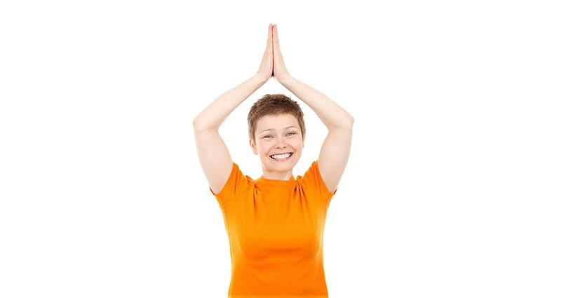 Woman in orange t-shirt